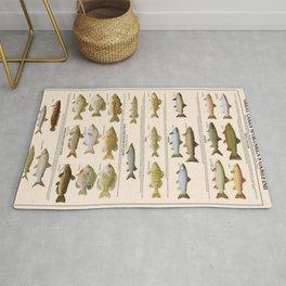 Illustrated Great Lakes Fishing Sportsmen's Game Fish Identification Chart, Superior, Huron, Ontario Rug