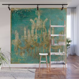 Gold and Peacock Chandelier Wall Mural
