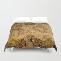"vintage map Duvet Covers featuring VintaGe Map by ""CVogiatzi."