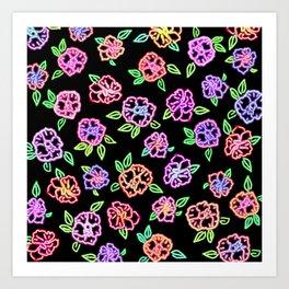 Neon Flowers Print Art Print