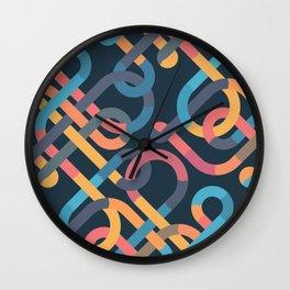 Tangled Looping Multi-Colored Ribbons Wall Clock
