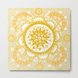 Orange Kaleidoscope Patterned Mandala Metal Print