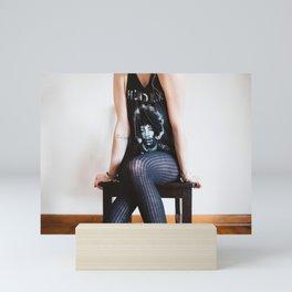 Woman In Jimi Hendrix Shirt Mini Art Print