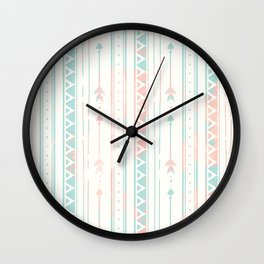Geometrical blush blue coral pink bohemian arrows Wall Clock