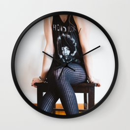 Woman In Jimi Hendrix Shirt Wall Clock