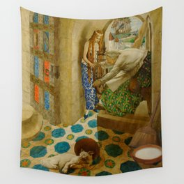 Sleeping Beauty The Princess Pricks her Finger on a Spinning Wheel Fairy Tale portrait by Leon Bakst Wall Tapestry