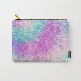 Modern girly pastel glitter sparkle nebula ultra violet turquoise pink Carry-All Pouch