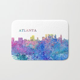Atlanta Skyline Silhouette an Impressionistic Splash Bath Mat
