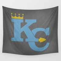 sports Wall Tapestries featuring Kansas City Sports Light Blue by Haley Jo Phoenix