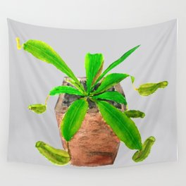 Tropical pitcher plant watercolor Wall Tapestry