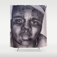 biggie smalls Shower Curtains featuring BIGGIE by Tara Dacle