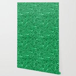 Vintage Japanese Clouds, Jade Green Wallpaper