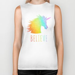 Believe  |  Rainbow Glitter Unicorn Biker Tank