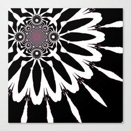 The Modern Flower Black White Pink Canvas Print