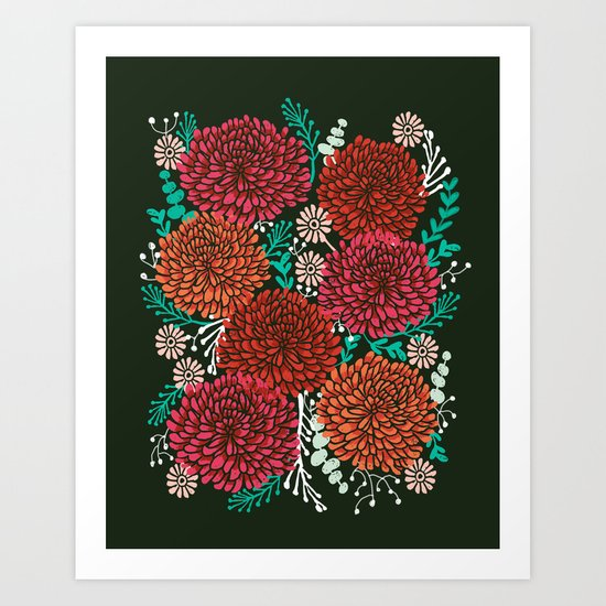 Chrysanthemums - Floral, Flower, Vintage, Design, Illustration by Andrea Lauren Art Print
