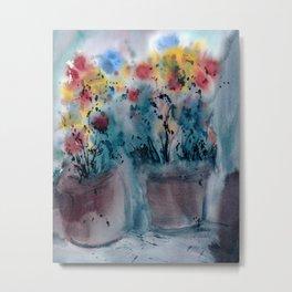 Flower Pots, An image of one my watercolor paintings Metal Print