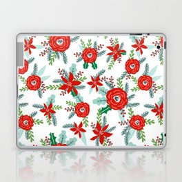 Poinsettia florals christmas festive holiday tradition thanksgiving red and white floral bouquet Laptop & iPad Skin