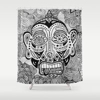 mask Shower Curtains featuring Mask by Greta Curzi