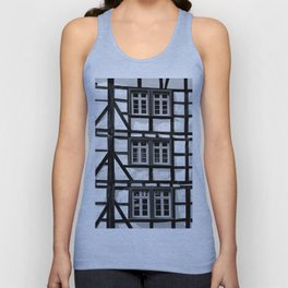 Black and white medieval street scene Unisex Tank Top