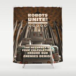 Robots Unite Shower Curtain