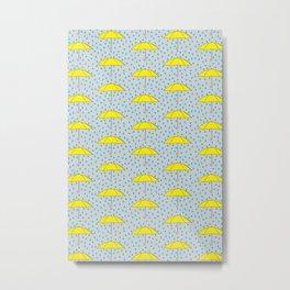 Raining Yellow Umbrellas Metal Print