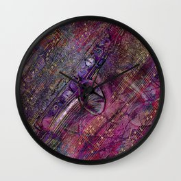 Saxophone Art Collage - mixed media Wall Clock