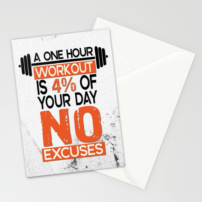 adc24040a A one hour workout is 4 of your day no excuses Fitness Typography Quotes  Stationery Cards