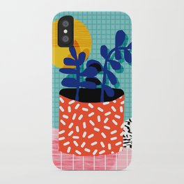 No Way - wacka potted house plant indoor cute hipster neon 1980s style retro throwback minimal pop iPhone Case