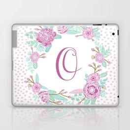 Monogram O - cute girls purple florals flower wreath, lilac florals, baby girl, baby blanket Laptop & iPad Skin