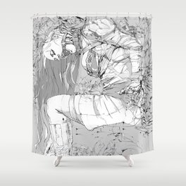 Lady in Peonies Shower Curtain