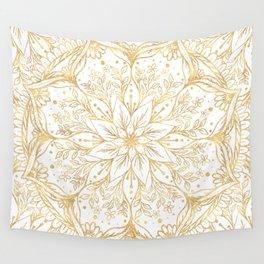 Gold Glitter Flower Mandala Elegant White Design Wall Tapestry