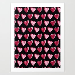 Red brush stroke dotty love hearts with text Art Print