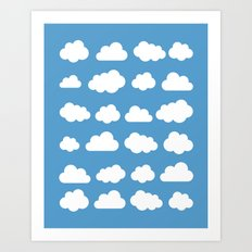 White clouds on a blue skies Art Print