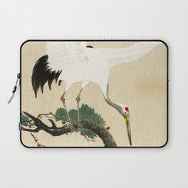 Crane and its chicks on a pine tree  - Vintage Japanese Woodblock Print Art Laptop Sleeve
