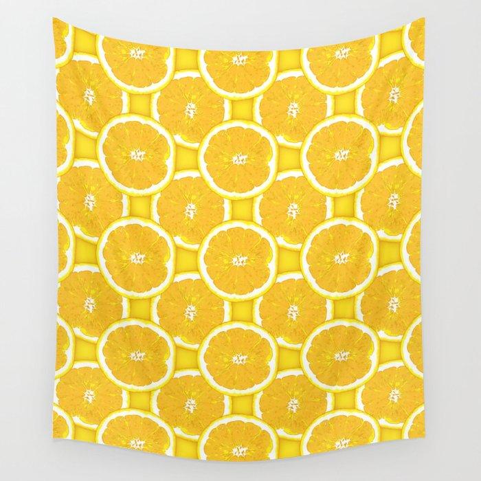 Orange Slice Paradise Vector Pattern Wall Tapestry