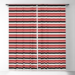 Eyecatching Light Coral, Black, Mint Cream, and Brown Lines/Stripes Pattern Blackout Curtain