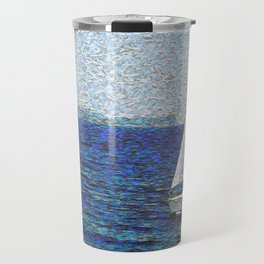 Summer / Sea / Yacht / Blue oil painting Travel Mug