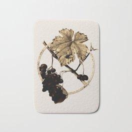 Gold Ring Barbera Grape Glitter Botanical Illustration Bath Mat