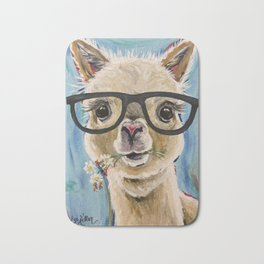 Cute Alpaca With Glasses Bath Mat