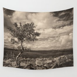 One tree in the mountains Wall Tapestry