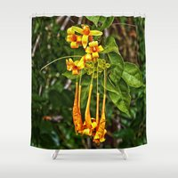 trumpet Shower Curtains featuring Beautiful orange trumpet flowers by Wendy Townrow