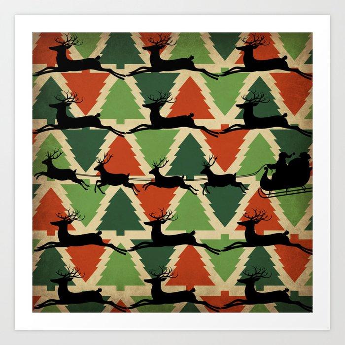 Christmas Tree Santa's Reindeer Art Print