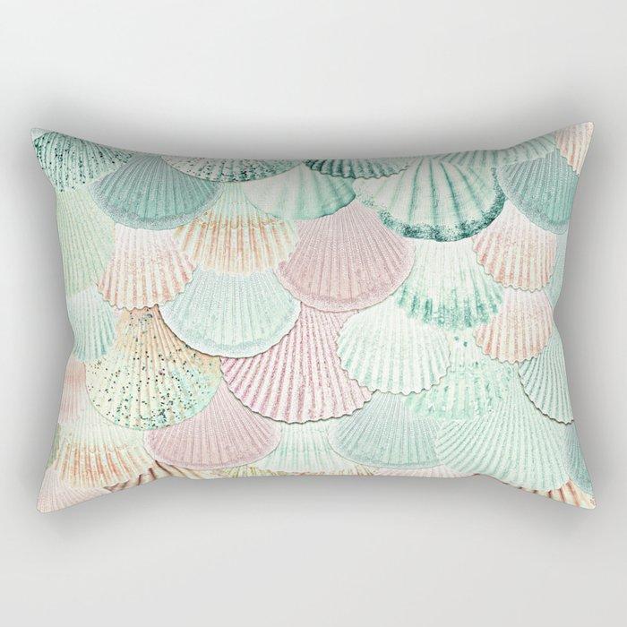 MERMAID SHELLS - MINT & ROSEGOLD Rectangular Pillow