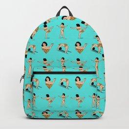 Broad City Art Model Pizza Censorship Light Blue Pattern Backpack