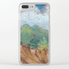 Mountain, rock and sky. Abstract pastel texture view. Clear iPhone Case