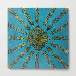 Hunab Ku Mayan symbol Vintage gold on old stone Metal Print