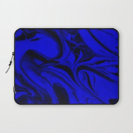 Black and Blue Swirl - Abstract, blue and black mixed paint pattern texture Laptop Sleeve