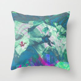 Tiny Dragon in Abstract Mountain Landscape Throw Pillow