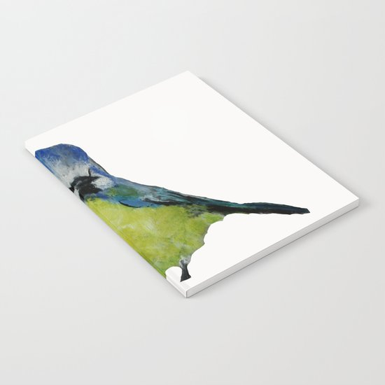 Wild English Garden Bird Blue Tit Contemporary Acrylic Painting White Edit Notebook
