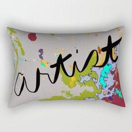 Artist Drop Cloth in dark red, gray, green, blue Rectangular Pillow